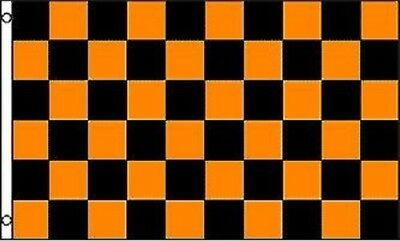 Orange and Black Checkered Flag Advertising Banner Store Sign Party Pennant 3x5 - Checkered Flag Pennant Banner