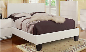Double Bedframe Footboard Only - Faux White Leather