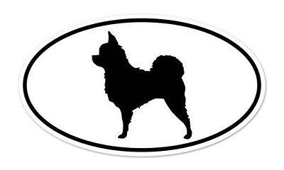 "Chihuahua Long Hair Dog Breed Shape Oval car window bumper vinyl sticker 5"" x 3"""