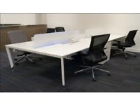 Dismantled, white, 4 man rectangular bench desk with LED glass screen for sale. Nearly new!