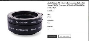 DG Madro Extension Tubes - for Sony Nex Cameras