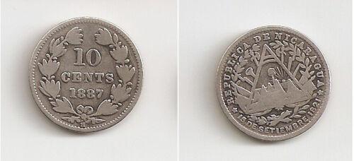 Nicaragua 10 centavos 1887 H
