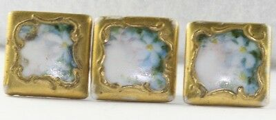 SQUARE VICTORIAN ANTIQUE PAINTED PORCELAIN BUTTONS THREE BLUE FLOWER