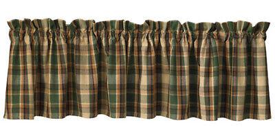 """Scotch Pine Plaid Valance 72"""" x 14"""" Kitchen Cabin Porch Park Designs Rustic"""