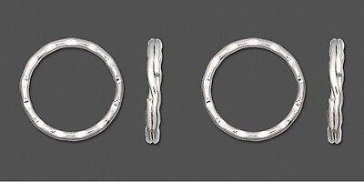 "Lot 6 KEY RINGS ~ 25mm 1"" Split Ring ~ Hammered Silver Metal ~ Sturdy Findings"