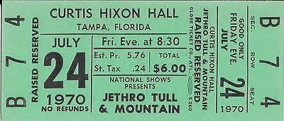 Original Jethro Tull and Mountain Unused Concert Ticket 1970