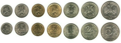 RUSSIA: 7 PIECE UNCIRC COIN SET, 1 KOPEK TO 5 ROUBLES