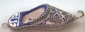 Cobalt Blue White Ceramic Shoe Slipper with Metal Decoration
