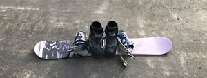 Ladies snowboard and boots
