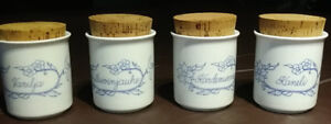 Spice Jars, Arabia Finland, Set of 4 with corks.