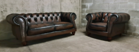 FREE DELIVERY 🚚 Brown Leather Chesterfield Suite, Couch and Chair, Fu