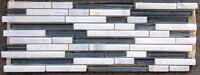 BLOWOUT SALE $7.99 Sheet! Carrara Marble with Glass Mix Strips