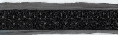 """2"""" BLACK EMBROIDERED LACE RIBBON FABRIC TRIM 4 YARDS for sale  Shipping to India"""