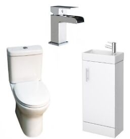 Minuto Vanity Unit, Libra Toilet & Free Fall Tap Cloakroom Deal