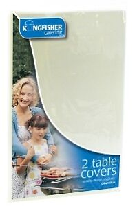 Kingfisher - Pack Of 2 Disposable Plastic Table Cloths 120cm x 120cm WHITE