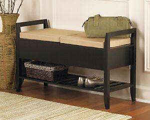 Black Wood Office Den Living Room 2 Seat Storage Bench Table Shelf W Cushions