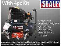 SEALEY AIR COMPRESSOR 2420E 24 LITRE DIRECT DRIVE 2HP WITH 4PC AIR TOOLS KIT