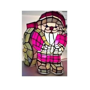 Tiffany Style Red, White Stained Glass Santa Accent Table lamp