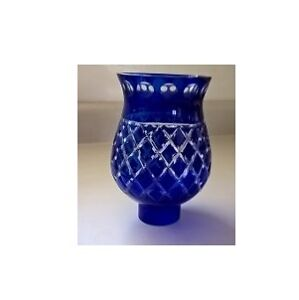 Ajka Crystal Cobalt Blue Cut to Clear Cased Hurricane Lamp Shade