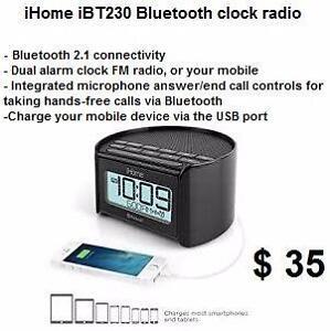 iHome Bluetooth 2.1 FM Alarm Clock Radio w/ Speakerphone and USB Charging