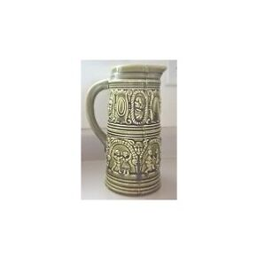 Olive Green Retro Ceramic Pitcher with Dancers