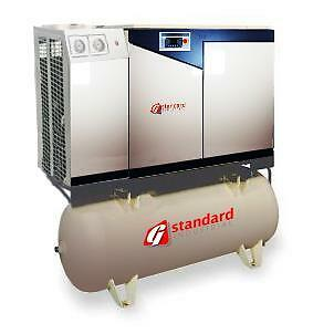 15hp Rotary Screw Air Compressor Air End 15 Hp Dryer Tank Mounted 120 Gallon