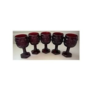 Vintage Avon Ruby Red 1876 Cape Cod Collectible Goblets