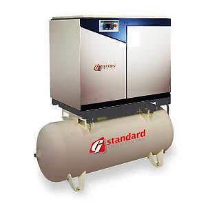 10hp Rotary Screw Air Compressor New Gsi Air End 10 Hp Tank Mounted 120 Gallon