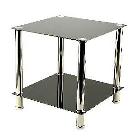 Black/Silver Glass Lamp Table