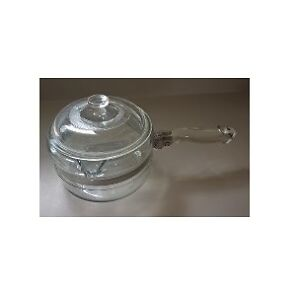 Flameware Pyrex Glass 1 Qt Sauce Pan with Lid