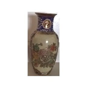 "Royal Hand Painted Satsuma 8 1/2"" Tall Porcelain Vase"