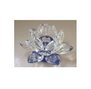 Crystal Clear Lotus Flower Candle Holder with Cobalt Blue Base