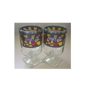 Coca Cola Footed Stained Glasses