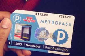 TTC METROPASS WANTED FOR JANUARY TO DECEMBER 2015
