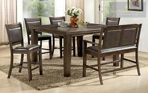NEW--50% OFF Until July 23, 2016--6PC Counter Height Set. Set includes 4 Chairs, Bench and Table. Model 2204. Regular