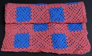 New pink & turquoise 49 x 52-inch hand-crocheted throw / blanket
