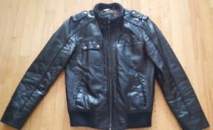Size Small GUESS Men's Faux-Leather lined Jacket