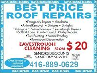 Eaves trough & Roofs Cleaning / Repair / Replace- Free Estimates