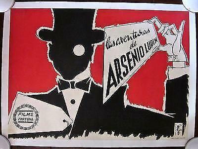 ADVENTURES OF ARSENE LUPIN - ORIGINAL 1957 SPANISH LB POSTER - DEBONAIR ARTWORK!