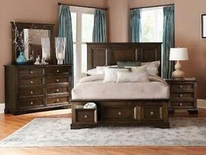 8PC Queen Storage Bedroom Set in a Solid Wood with Dovetail Double Sliding Drawers Starting bid: $1,923.00 Regular Retai