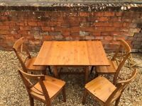 Folding Pine Table & 4 Chairs