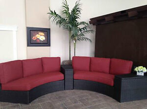 Curved Outdoor Sofa Set with Storage Compartments