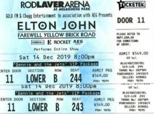 Create a life memory for Christmas: Elton John tickets for sale Sat 14
