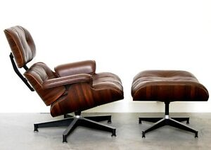 COPPER BROWN VINTAGE LEATHER EAMES LOUNGE CHAIR AND OTTOMAN