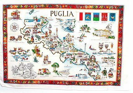 Puglia, Italy Souvenir Linen Tea Towel - Kitchen Towel, Made in Italy
