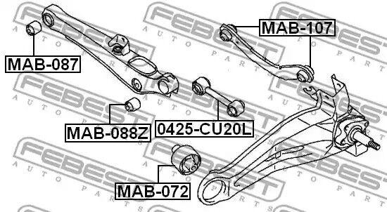 Rear Control Arm Bush for Mitsubishi Delica D5, Dion