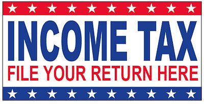 Income Tax File Your Return Here Vinyl Banner Sign 2x3 Ft - Stars Wb