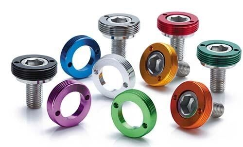 Bottom Bracket Crank Bolts with Anodized Caps - M8 Square Taper SILVER
