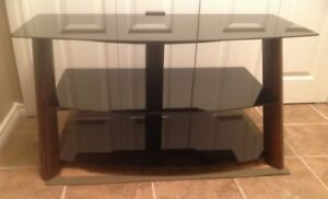 Wood steel and glass TV stand
