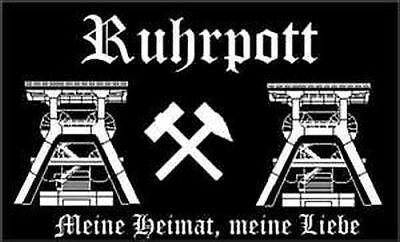 "Ruhrpott (schwarz) Fahne Flagge 90x150 cm Hissfahne Pott Kohle ""Heimat"""